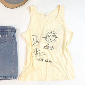 ⭐️ NEW ARRIVAL VTG Aruba Cotton Tank Top Shirt Tee