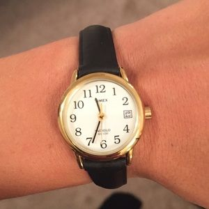Black/Gold Timex Watch Genuine Leather Never Used