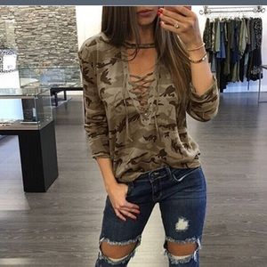 Tops - Camo print choker lace up top