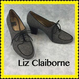"👠 Liz Claiborne Gray Tweed ""Sabrina"" lace-ups"