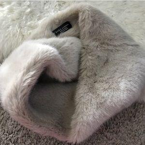 ZARA faux fur wrap scarf