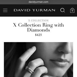 Authentic David Yurman X Collection Ring Diamonds
