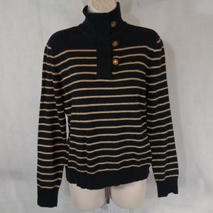 LAUREN RALPH LAUREN Sweater Size M Black Gold