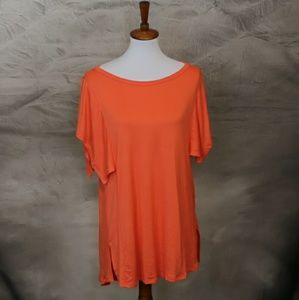 Tops - Boutique bright orange high-low tunic top. M
