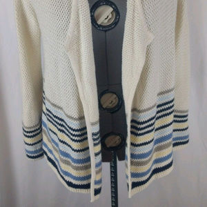 J. Jill White Cardigan Knit Striped Long Sweater