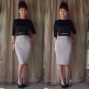 Dresses & Skirts - NEW TAUPE & BLACK 2 PC SKIRT SET