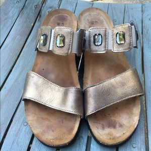 Women's Naot Gold Leather & Jewels Sandals 9M/40