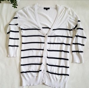[The Limited] Black & White Striped Cardigan