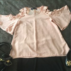 Lace edged cold shoulder blouse