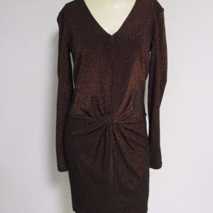 Ted Baker Lizzey Twist Metallic Dress 2 US 6