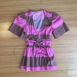 Plenty by Tracy Reese Pink & Brown Blouse Sz 0