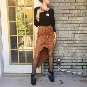 NWT Hot!🍂Anthro Mustard Seed Faux Suede Skirt