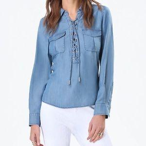 Bebe blue chambray lace up l/s shirt XS