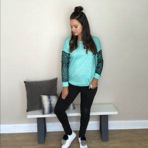 Beauty And Her Bears Tops - Turquoise & Lace Crewneck
