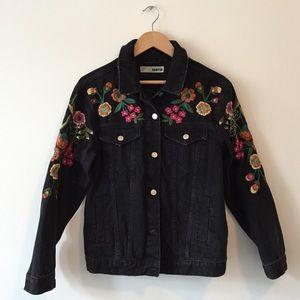Topshop Embroidered Denim Jacket