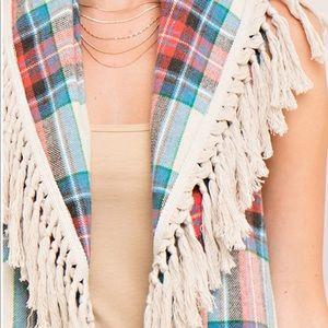 Jackets & Blazers - Blanket scarf looking vest w/ fringes. 2 colors!