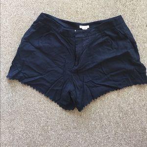 Club Monaco Navy Scalloped Trim Shorts