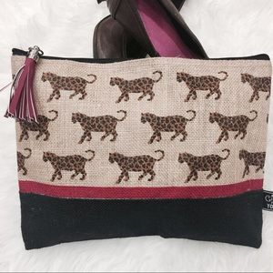 Handbags - Tiger Print Jute Clutch