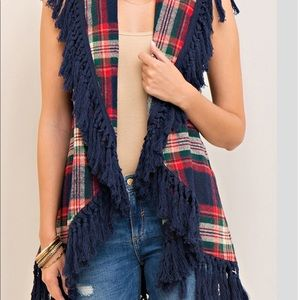 Jackets & Blazers - Navy and red blanket scarf vest. Lighter separate.