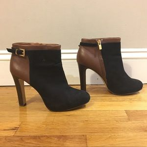 Suede & Leather Heel Ankle Boots