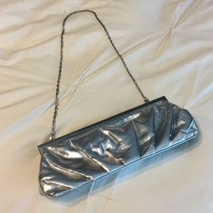 Silver Clutch Purse with silver chain strap
