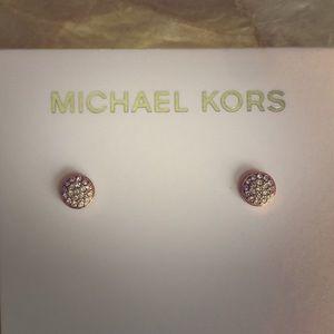 Michael Kors Rose Gold Crystal Pave Stud Earrings