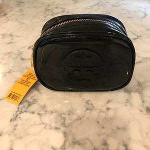 NWT Tory Burch Black Patent Leather Cosmetic Case