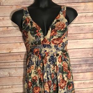 Tan Floral Mini Dress Size Large