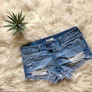 A&F: Light Wash Destroyed Jean Shorts