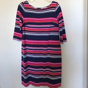 Talbots striped 3/4 length sleeve dress. Size 8.