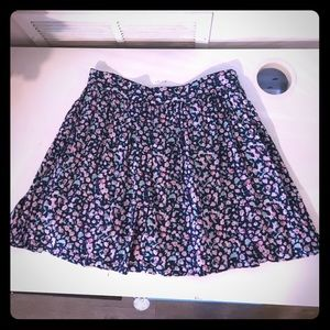 Anthropologie navy skirt with roses