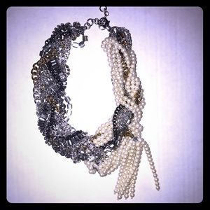 Banana Republic Pearl Silver Statement Necklace