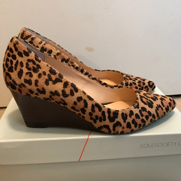 191836ae0 Sole Society Shoes | Leopard Print Wedges Size 8 | Poshmark