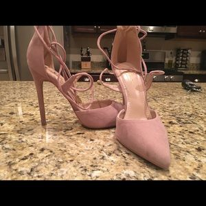 Dusty rose lace up heels