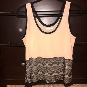 Nordstrom beige tank with lace detail