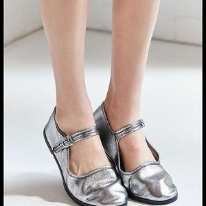 NWT Urban Outfitters Shimmery Silver Mary Janes