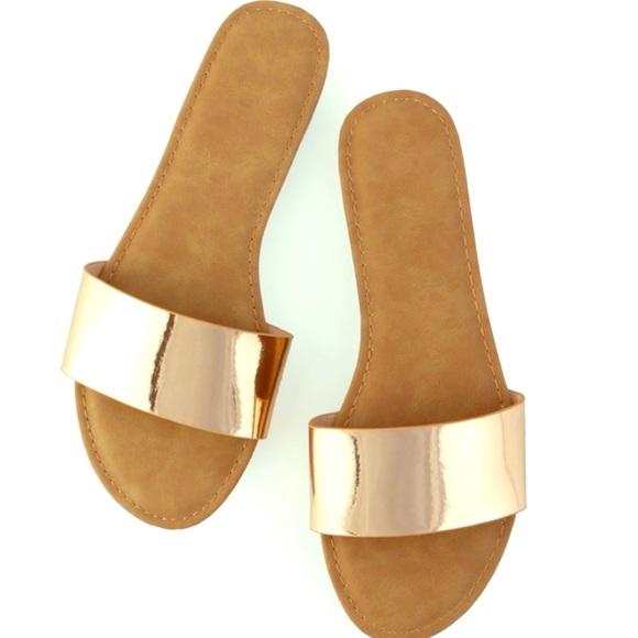ad0b13f2f1e42 Gold Metallic Slides