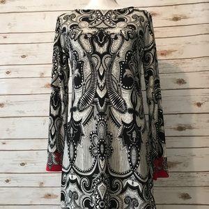 Graphic print Nicole Miller dress. NWT. Size M