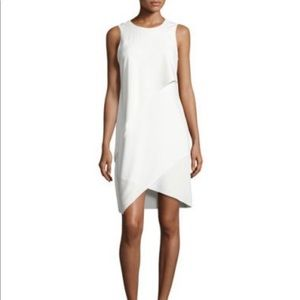 Halston Heritage layers crepe dress in eggshell 4