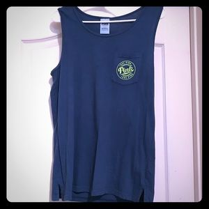 PINK emerald green with neon lettering tank