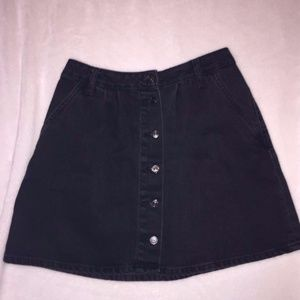 Zara Black Denim Button Up A-line Skirt