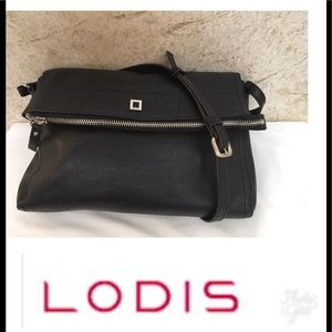 Lodis black leather fold over cross body