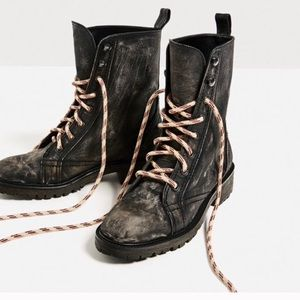 Zara leather lace up combat ankle boots size 8