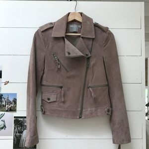 Asos Suede Moto Jacket XS US 0 Pink Mauve