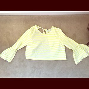 Yellow/white stripe bell sleeve top