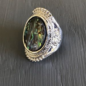 Jewelry - Stunner! 925 Sterling silver boho abalone ring 7