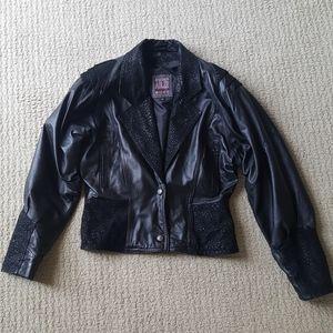 80's Adler Vintage Leather Bomber Jacket