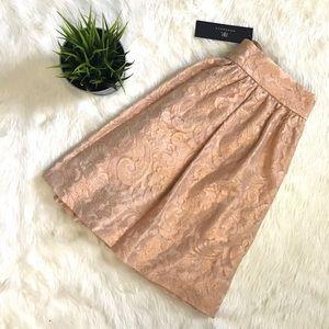 Rose gold peach metallic Lace pleated full skirt