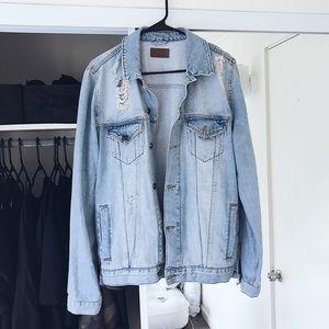 ASOS unisex distressed denim jean jacket size M