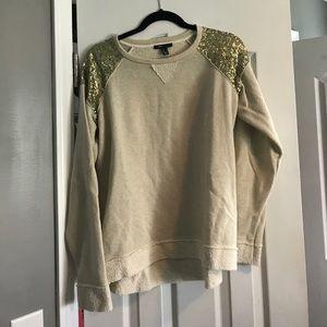 MNG Mango Gold Sequin Shoulder Sweatshirt